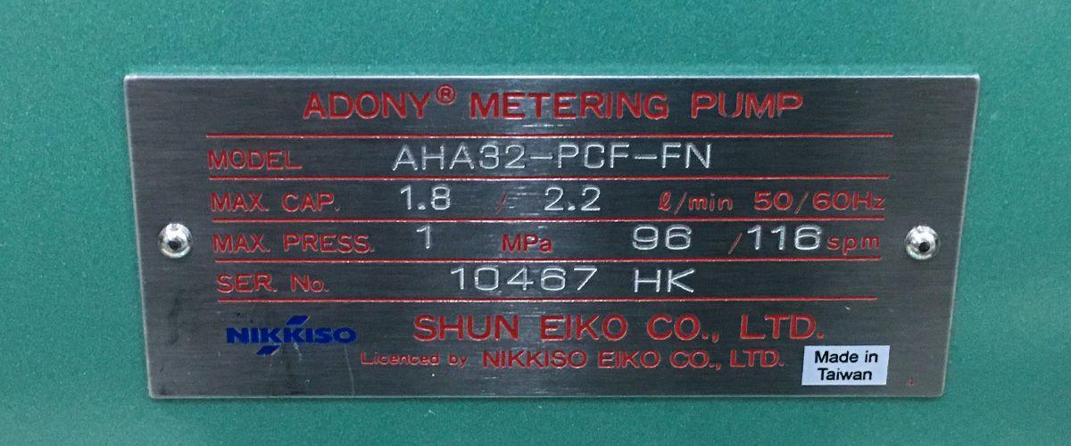Thông số bơm định lượng hóa chất Nikkiso AHA32 PCF FN