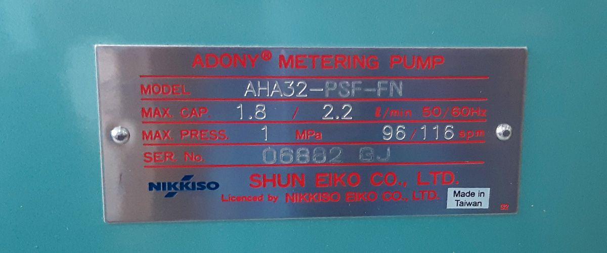 Thông số kỹ thuật bơm định lượng Nikkiso AHA32 PSF FN