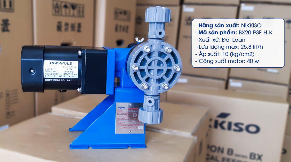Bơm định lượng hóa chất Nikkiso BX20 PSF H K có lưu lượng bơm 25.8 Lít/ giờ. Là dòng sản phẩm có khả năng bơm Polymer rất tốt