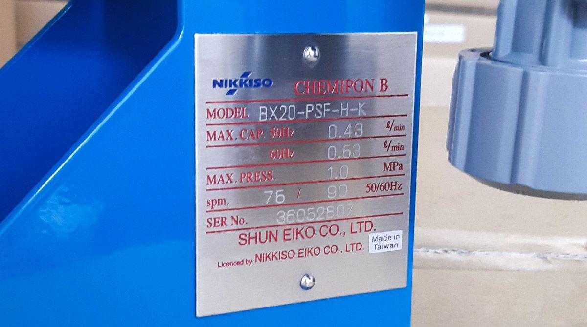 Bảng thông số bơm định lượng hóa chất Nikkiso BX20 PSF H K