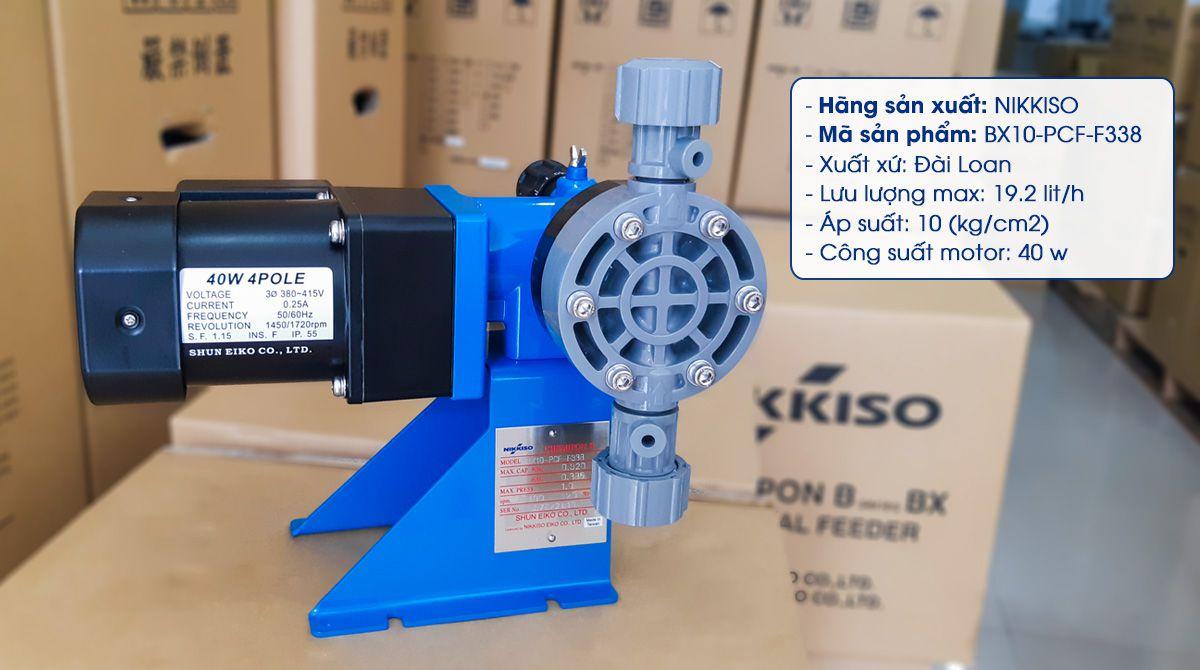 Bơm định lượng Nikkiso BX10 PCF F338 có khả năng bơm lưu lượng 19.2 Lít/ giờ