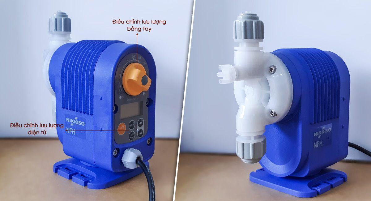 Bơm định lượng Mini NFH10 có bộ điều chỉnh lưu lượng phía sau máy.