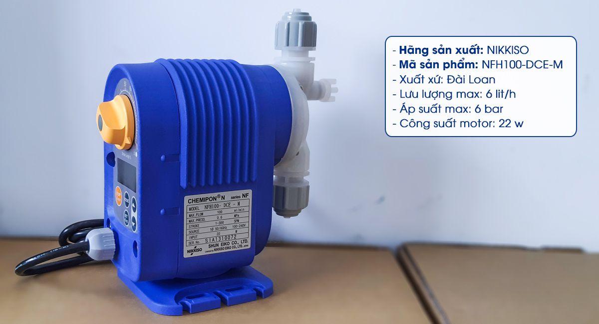 Máy bơm định lượng hóa chất Nikkiso NFH100 DCE M chuyên dùng bơm hóa chất xử lý nước thải, nước ao hồ với lưu lượng bơm 6 lít / giờ