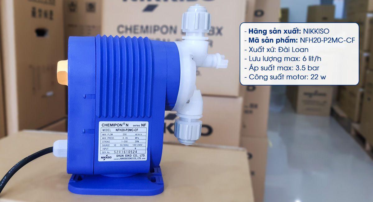 Bơm định lượng hóa chất Nikkiso NFH20 P2MC CF có lưu lượng bơm 6 lít/ giờ. Ảnh Asatech.vn