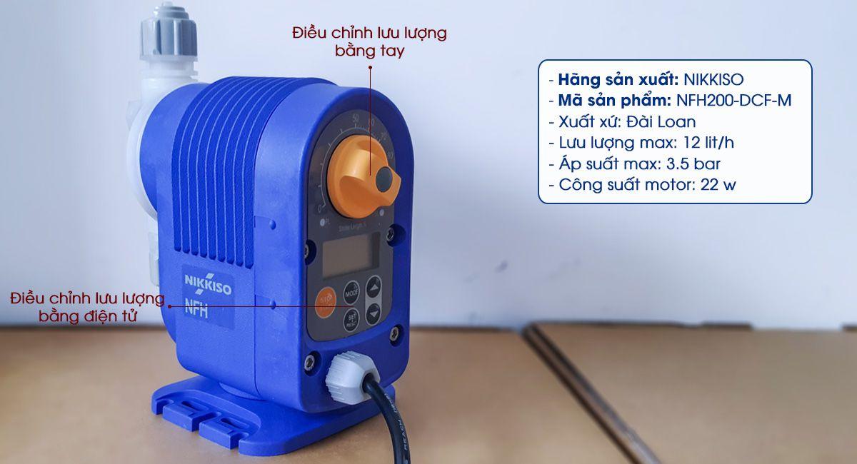 Bơm định lượng hóa chất Nikkiso NFH200 là dòng máy bơm định lượng mini được nhập khẩu từ Đài Loan.