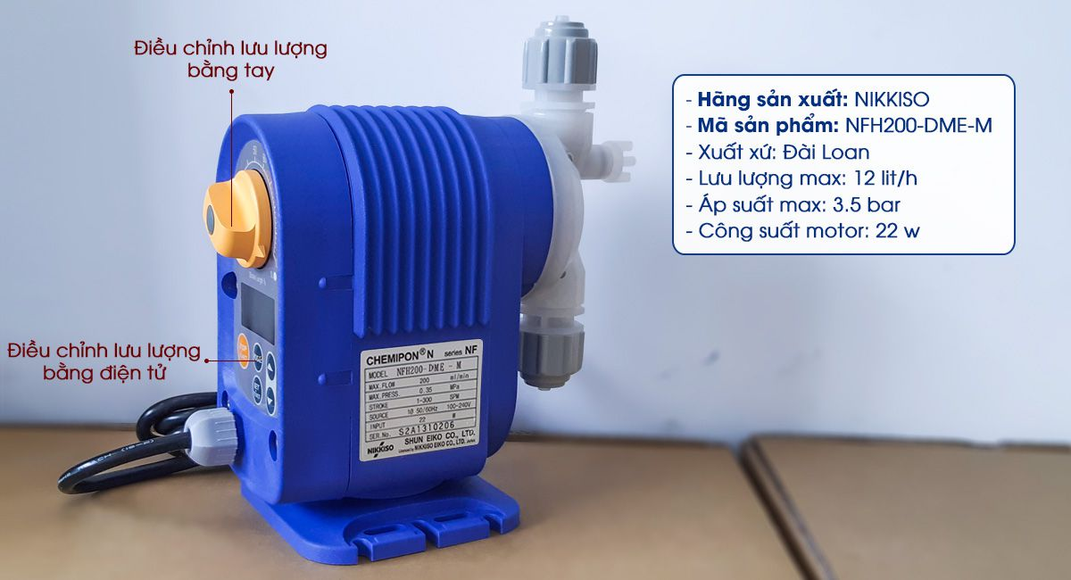 Bơm định lượng hóa chất Nikkiso NFH200-DME-M là dòng bơm định lượng giá rẻ, có lưu lượng bơm 12 lít/ giờ.