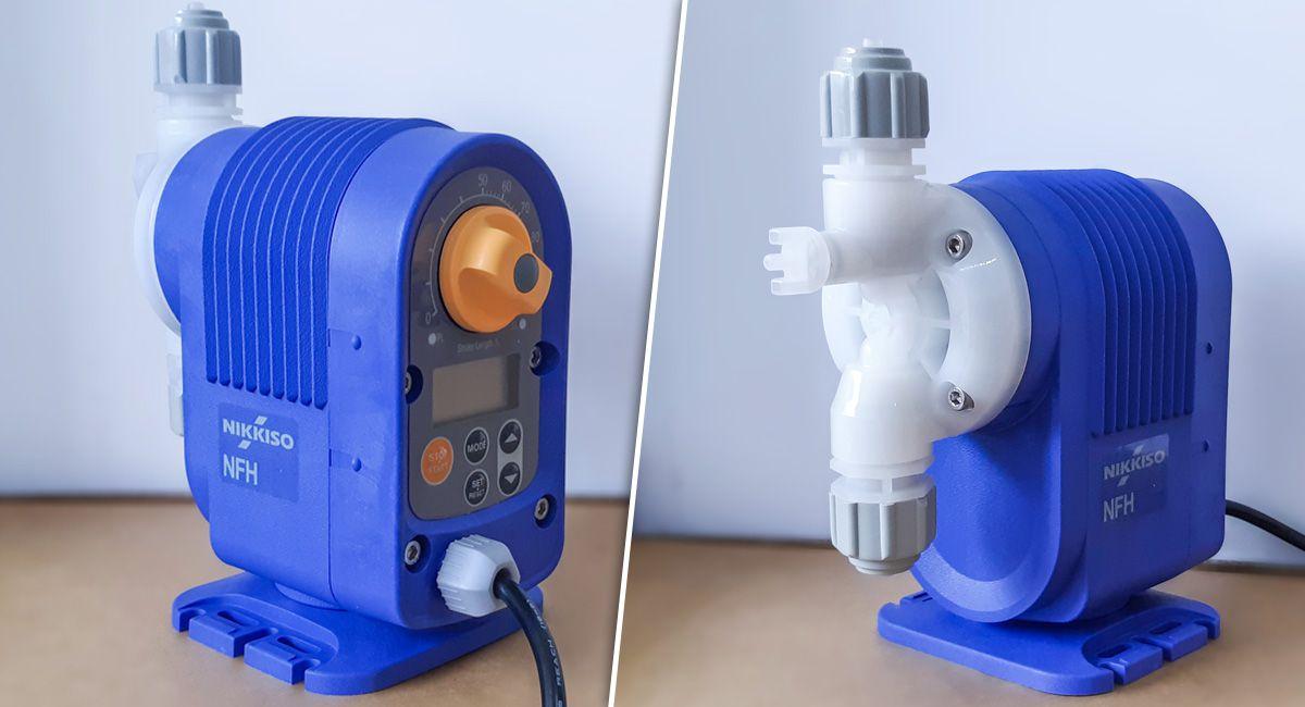 Bơm định lượng hóa chất Nikkiso NFH200 DME M cũng như các dòng trong NFH Series được trang bị bộ điểu chỉnh lưu lượng phía sau bơm.