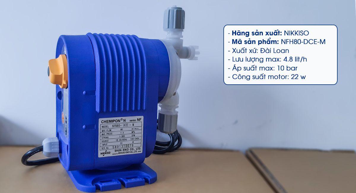Bơm định lượng hóa chất Nikkiso NFH80 DCE M có lưu lượng bơm tối đa 4.8 lít/ giờ