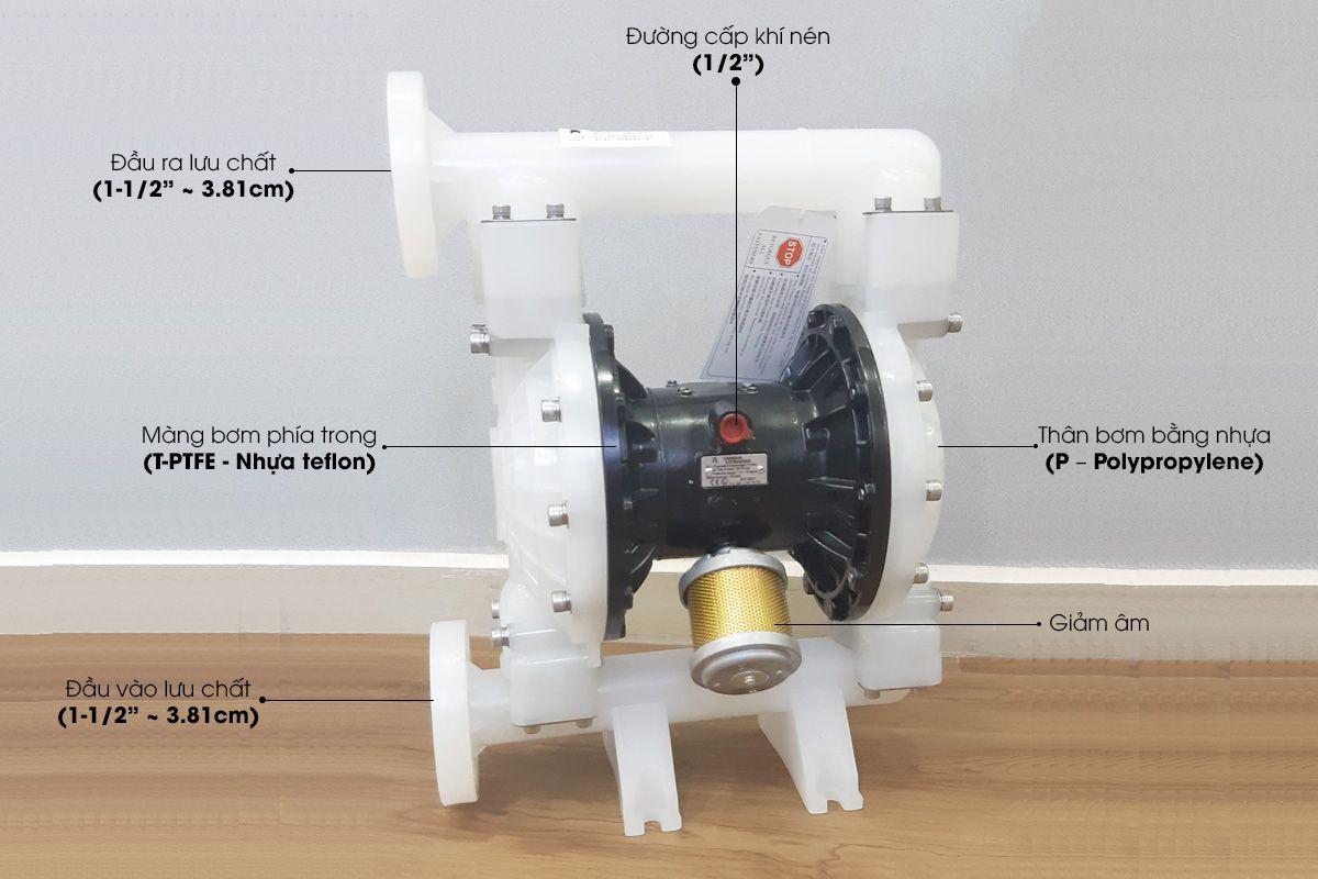 Bơm màng hóa chất khí nén Đài Loan TDS DS14-PAL-TPTP-02 – 1-1/2″