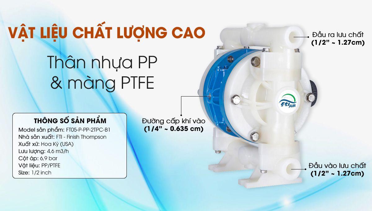 Mô tả chi tiết về máy Bơm màng khí nén FTI 1/2'' FT05-P-PP-2TPC-B1
