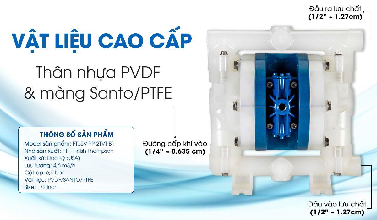 Bơm màng khí nén bơm hóa chất FTI FT05V-PP-2TVT-B1 lưu lượng bơm tối đa: 4.6: (m3/h).