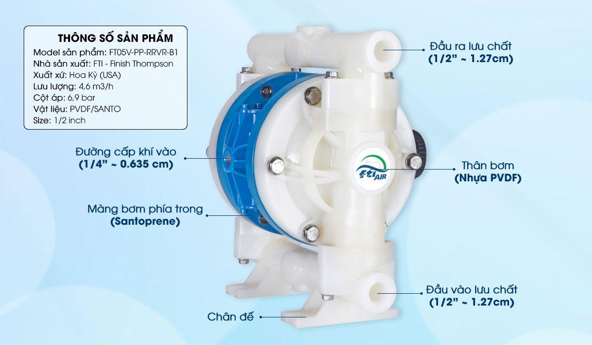 Bơm màng khí nén FTI 1/2'' FT05V-PP-RRVR-B1 chuyên dùng bơm nước thải, dung môi