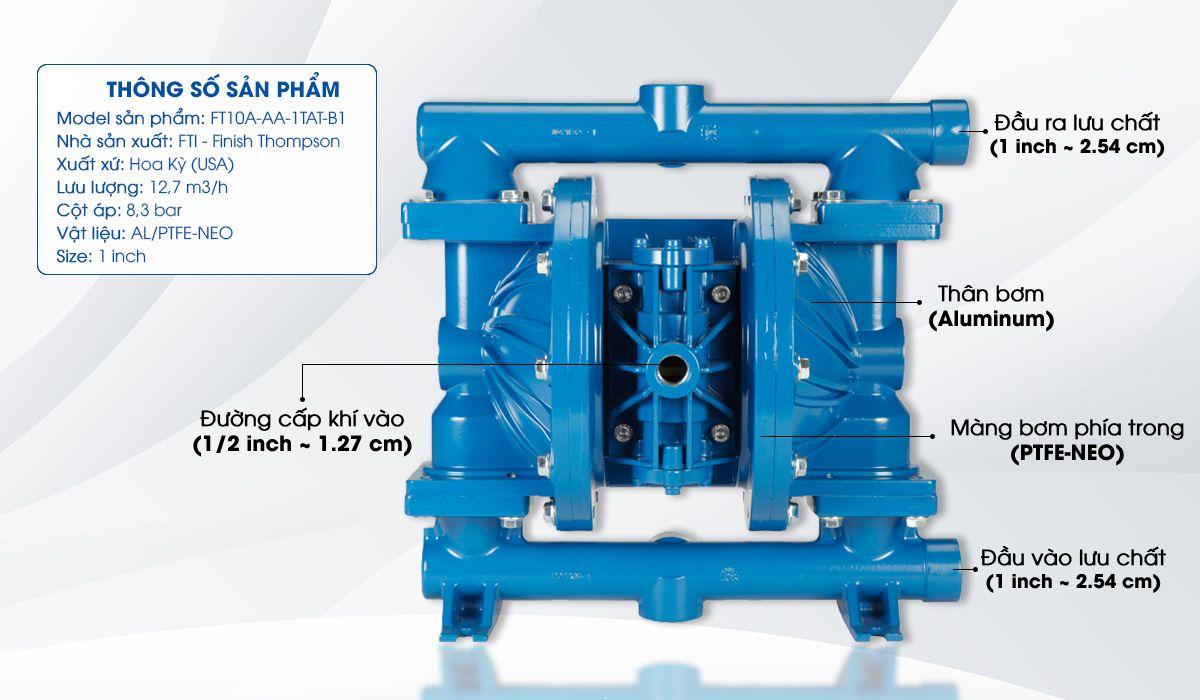Bơm màng khí nén FTI FT10A-AA-1TAT-B1 là dòng bơm màng có kích thước hút, xả 1''. Lưu lượng bơm Max: 12.7: (m3/h)