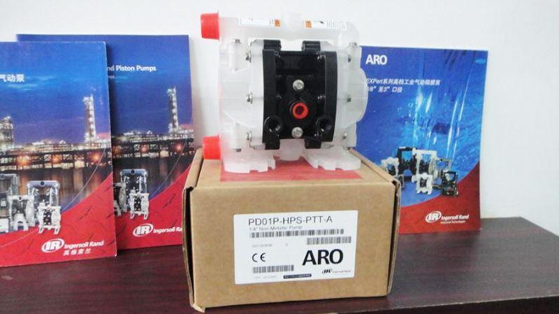 Máy bơm màng mini Aro PD01P-HPS-PTT-A chuyên dùng bơm hóa chất và các loại dung dịch có tính ăn mòn cao.