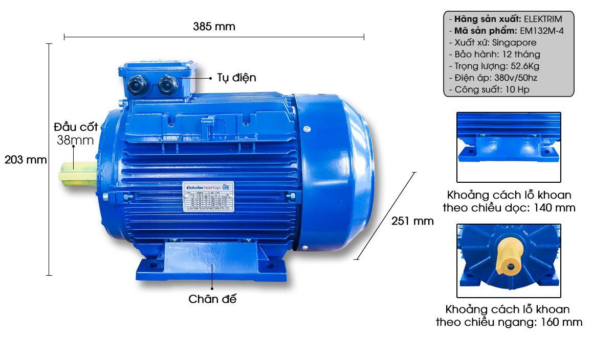 Mô tả chi tiết động cơ điện, mô tơ điện Elektrim EM132M-4