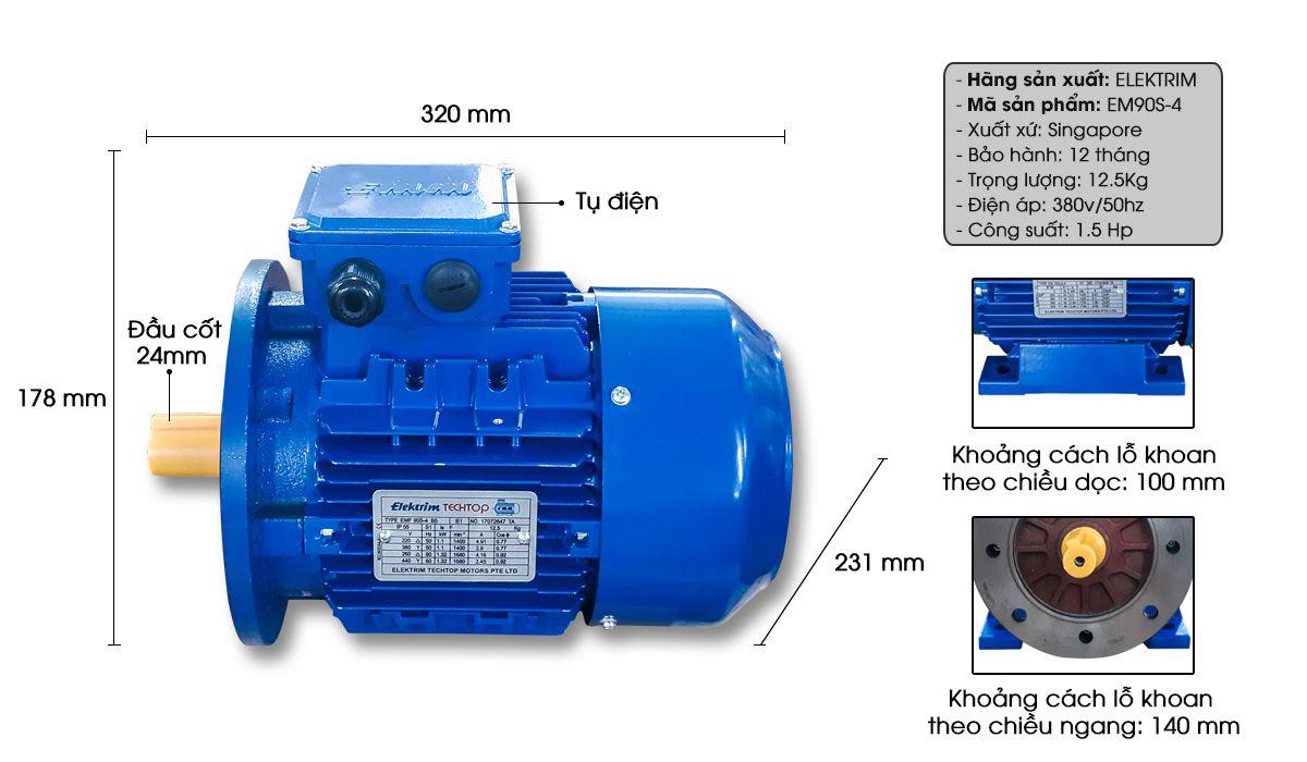 Mô tả chi tiết Mô tơ động cơ điện Elektrim EM90S-4