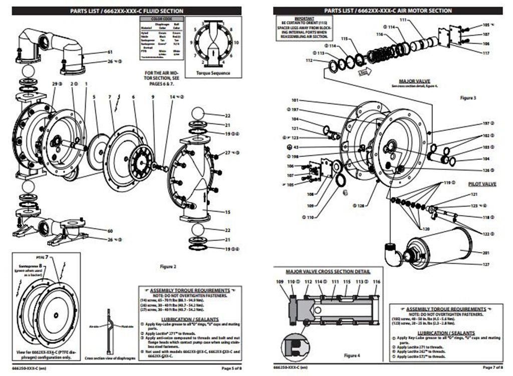 Bảng mô tả cấu tạo bơm màng 666270-144-C