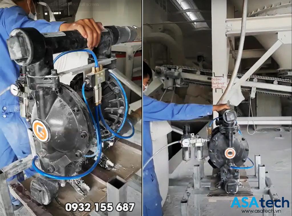 Máy bơm màng bơm bột đá CaCO3 chính hãng giá rẻ