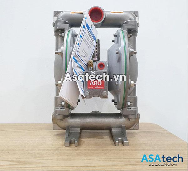 Bơm màng ARO 66612B-244-C-V là loại máy bơm màng khí nén kích thước 1″, thân Inox 316, màng bơm Teflon chuyên dùng để bơm tất cả các loại thực phẩm có độ nhớt thấp