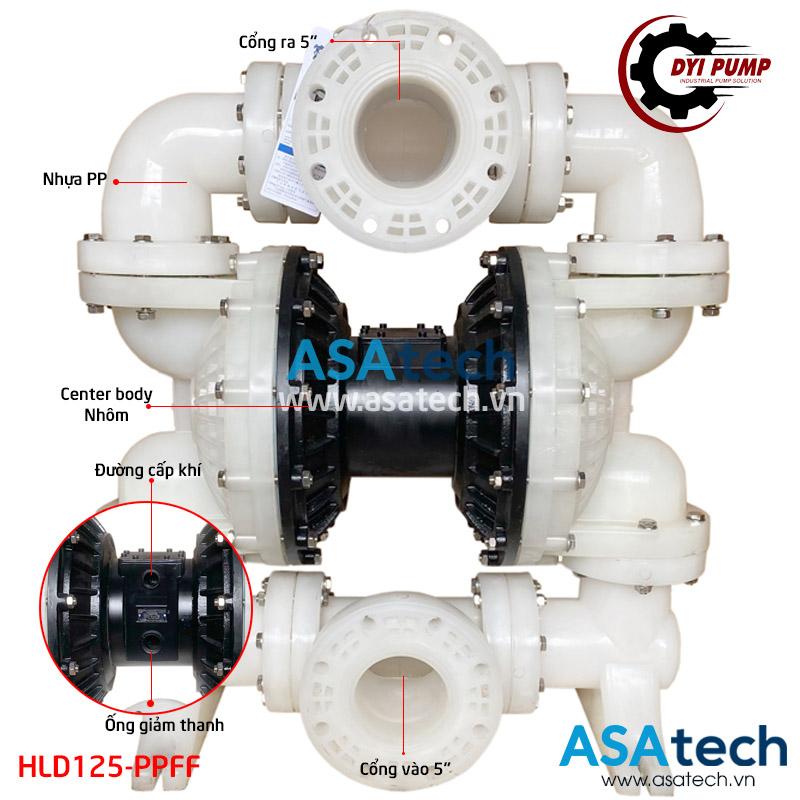 Máy bơm màng hóa chất khí nén DYI HLD125-PPFF cấu tạo đặc biệt với cổng hút/ xả 5