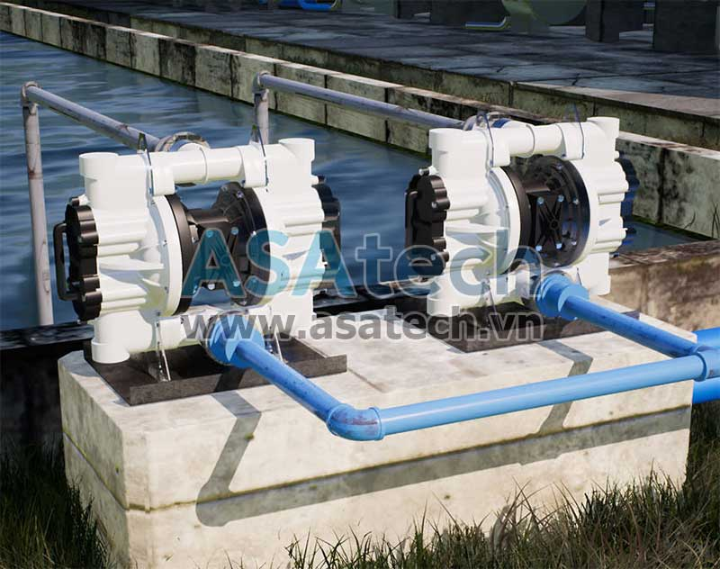 Các dòng máy bơm màng thân nhựa có thể được sử dụng để bơm các loại hóa chất, bơm thực phẩm, bơm nước thải, bơm dung dịch xi mạ...